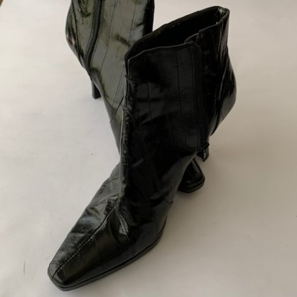 Moda Spana EEL Skin Black Ankle Boots
